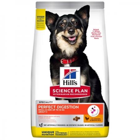 HILL'S PET NUTRITION  SCIENCE PLAN PERFECT DIGESTION SMALL & MINI ADULT 1+ CON POLLO E RISO INTEGRALE Cani