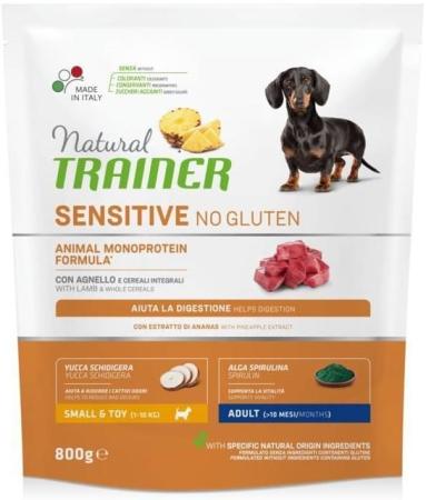 TRAINER  NATURAL SENSITIVE NO GLUTEN SMALL & TOY ADULT CON AGNELLO Cani