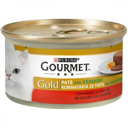 GOURMET GOLD PATÉ CON VERDURA, CON MANZO E CAROTE Gatti