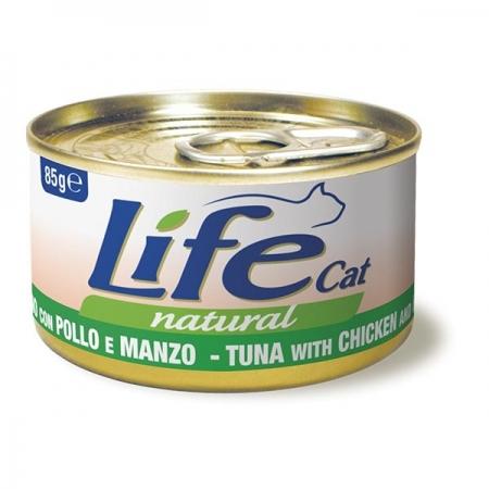 LIFE CAT NATURAL TONNO CON POLLO E MANZO Gatti